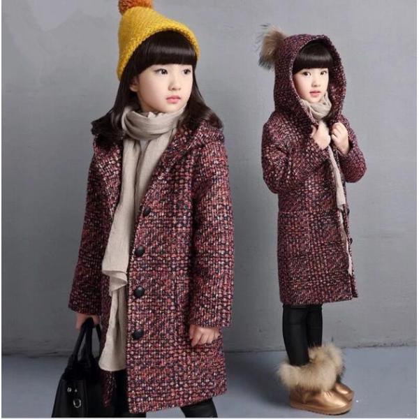 34d29b31ce467 子供ダッフルコート女の子 子供コート ツイードロングコート 韓国子供服 冬服 ジャケット キッズ ...
