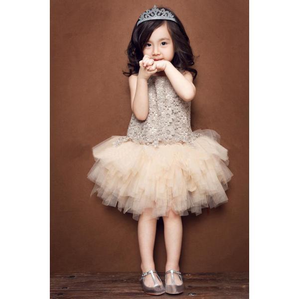 5add6b38ef8fc ... 子供ドレス 女の子 フォーマルワンピース ドレス チュチュワンピース 姫 チュールドレス シャンペン 演出服 パーティードレス ...