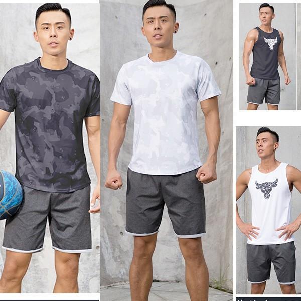 夏用 メンズ ランパン ランショーツ 上下セット 吸汗速乾 半袖Tシャツ ジム トレーニングウェア ランニングウェア ジョギング 男性用 マラソン スポーツウエア|fairyhouse0000
