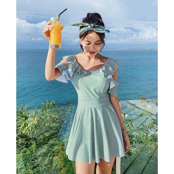 水着レディース 体型カバー 水着 ワンピース型 ショートパンツサロペット水着 ボーダー柄 フレア バンドゥ 水着 韓国風 40代 可愛い スイムウェア ママ水着|fairyhouse0000|03