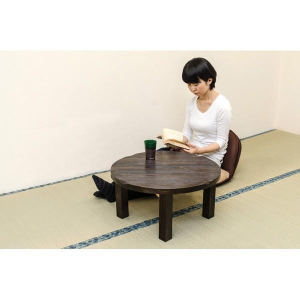 焼杉風ちゃぶ台/折りたたみ円形テーブル 〔直径60cm〕 木製 天板厚約30mm 木目調 〔完成品〕〔代引不可〕|faith-ys|05