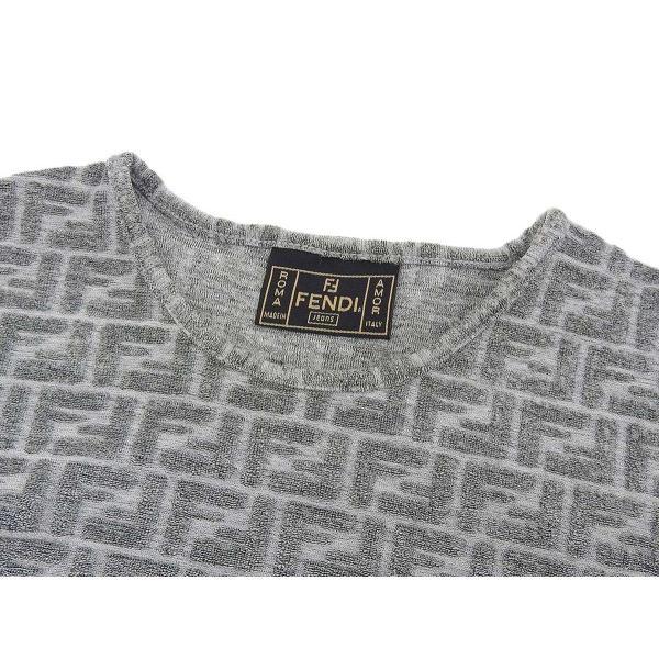 FENDI フェンディ ズッカ柄 レディース 半袖カットソー ファブリック グレー Tシャツ 38  20190503