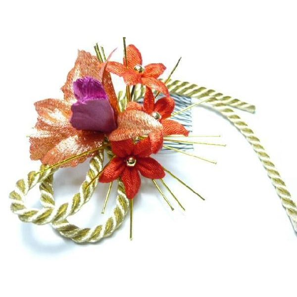 和風ちりめん髪飾り コーム大 デンドロビウム 金紐と水引 ヘアーアクセサリー 正月や成人式や七五三 結婚式 着物に