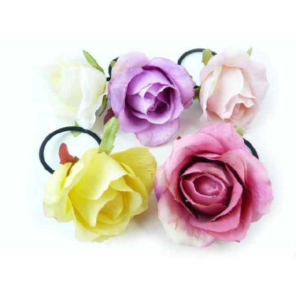 髪飾り 清楚な美しさシングルローズのポニー6580(1個) ヘアーアクセサリーにもなる手作りの造花|familiamia