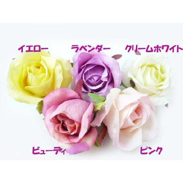 髪飾り 清楚な美しさシングルローズのポニー6580(1個) ヘアーアクセサリーにもなる手作りの造花|familiamia|05