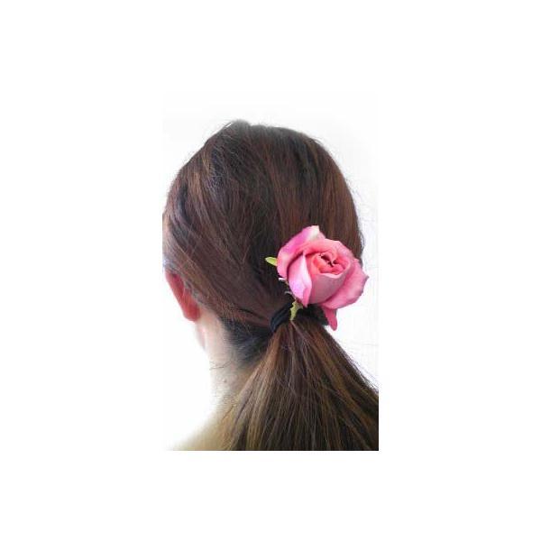 髪飾り 清楚な美しさシングルローズのポニー6580(1個) ヘアーアクセサリーにもなる手作りの造花|familiamia|06