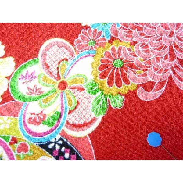 ちりめん 生地 友禅 昭和レトロな大柄な花柄 赤 YS05-01 10cm  髪飾りやつまみ細工に 二越 レーヨン 縮緬 和風 はぎれ|familiamia|02