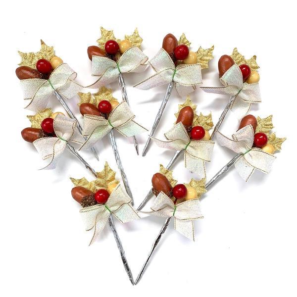 クリスマスケーキ 飾り  オーナメント FX-4  どんぐりと木の実が可愛い金のヒイラギ (10本入)|familiamia