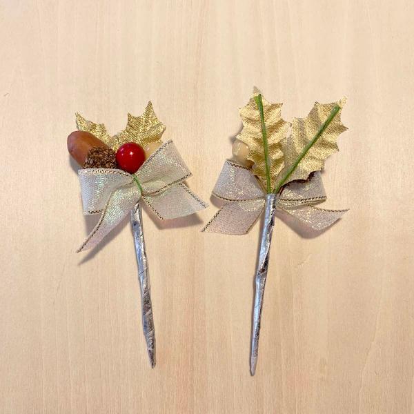 クリスマスケーキ 飾り  オーナメント FX-4  どんぐりと木の実が可愛い金のヒイラギ (10本入)|familiamia|02