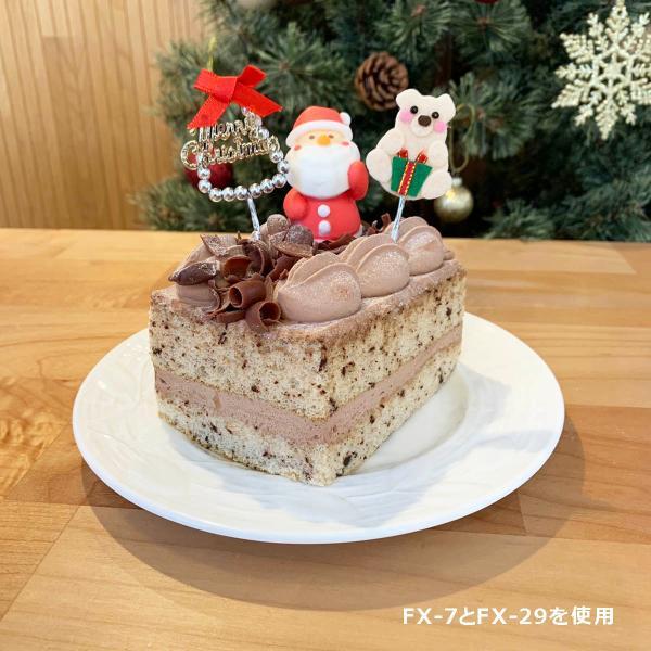 クリスマスケーキ 飾り  オーナメント FX-7  ビーズがお洒落なメリークリスマスと赤いリボン (10本入)|familiamia|04
