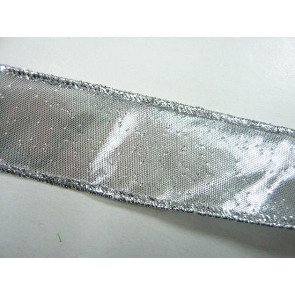 バイヤスリボン 銀ラメ 3cm巾 約1.3m(1本) ソーイング 縫製 紐|familiamia