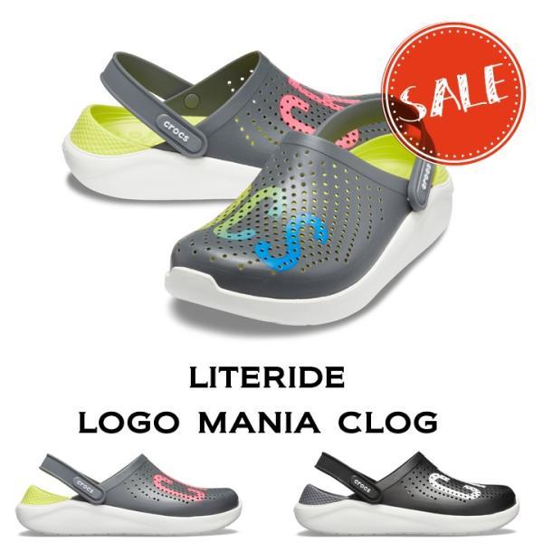 ●【クロックス crocs 】literide logo mania clog/ライトライド ロゴマニア クロッグ/リカバリーサンダル/メンズ レディース