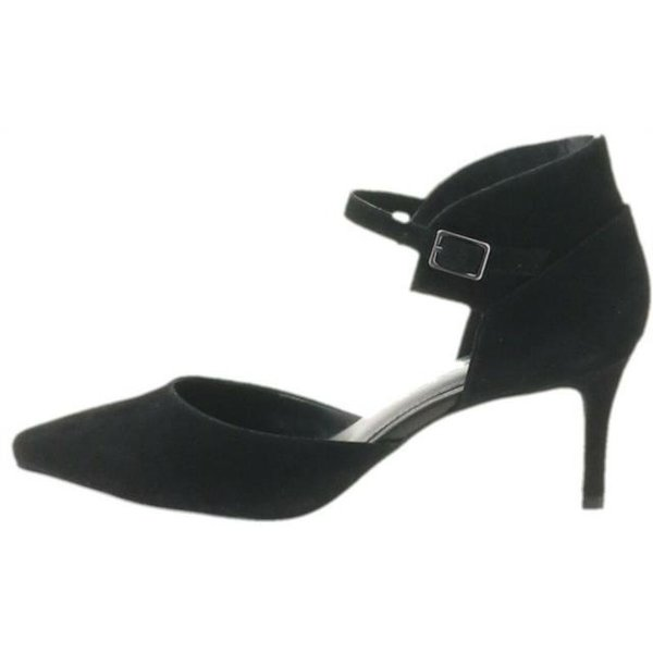 Halston Suede Heels Adjustable Ankle Strap Laurie A280378