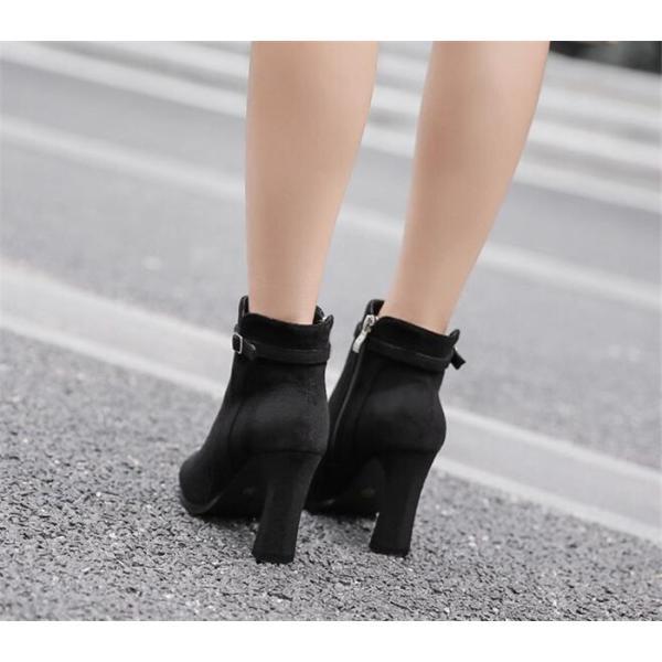 ショートブーツ ハイヒール9cm スエードブーツ チャンキーヒール レディース 靴 シューズ 定番ブーツ 黒 ブラック グレー 通勤 美脚 OL 歩きやすい