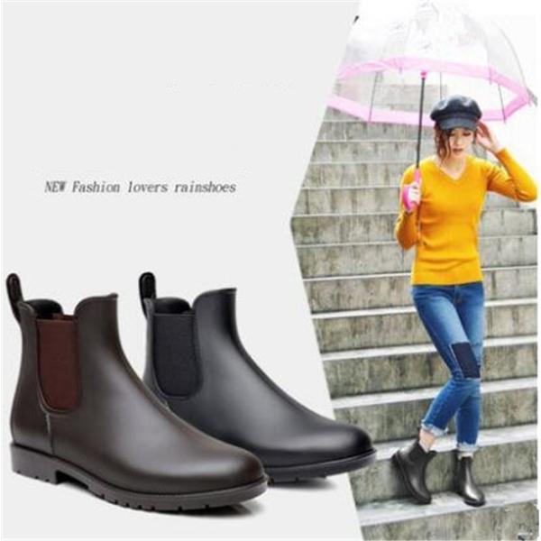 レインブーツ レディース ショートシューズ 夏春 サイドゴア 黒 梅雨対策 おしゃれ ブーツ 雨靴 軽量 大きいサイズ 韓国風
