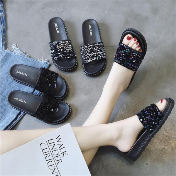 厚底サンダルスパンコールサンダルレディース靴柔らかい素材ビーチサンダルコンフォートサンダル2cmヒールレディース靴夏歩きやすい