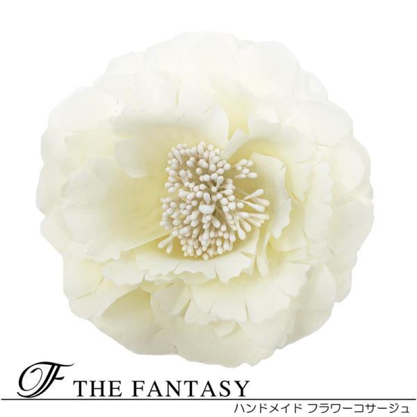 コサージュ 入学式 コサージュ フォーマル 2way ヘッドドレス 牡丹 コサージュ クリーム 結婚式 髪飾り fh12032cm