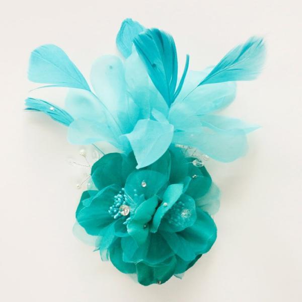 コサージュ 青緑 コサージュ フェザー  髪飾り 羽毛 2way ヘッドドレス fh19152gn