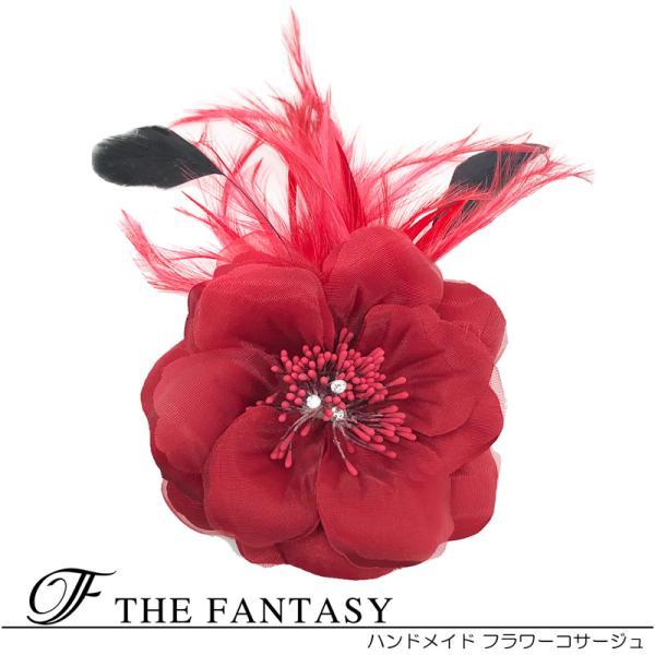 コサージュ 入学式 コサージュ フォーマル 2way ヘッドドレス フェザー 付き 髪飾り fh7018wn