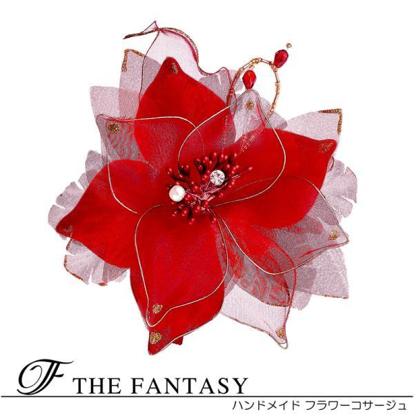 コサージュ  入学式 フォーマル コサージュ 入園式 花 オーガンジー コサージュ 蘭 結婚式 fh9012rd