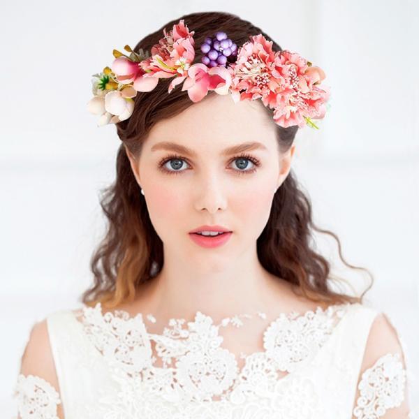 花かんむり 花冠 牡丹 花かんむり サーモンピンク ヘッドドレス ウエディング  ドレス花冠 fhkan062cpk