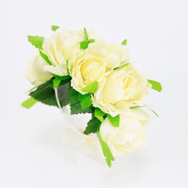 リストレット 花 ヘッドドレス ホワイト ばら 子供 リストブーケ ブライダル 髪飾り コサージュ fhrs02cm