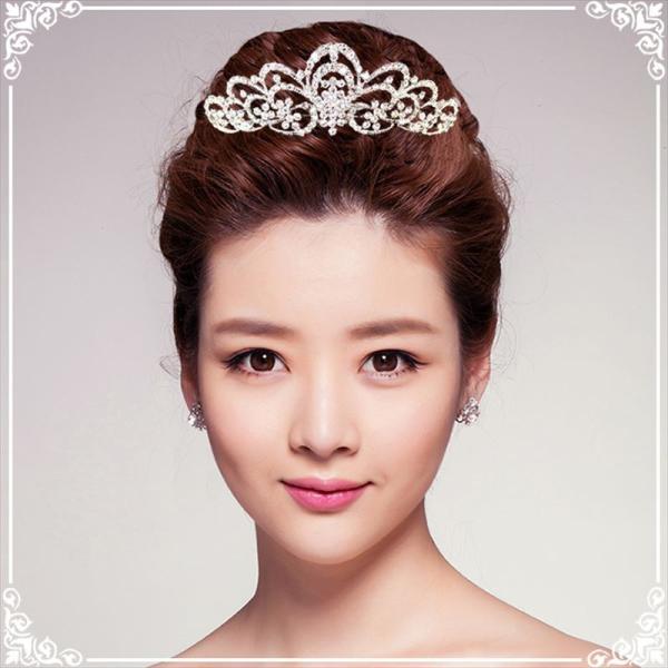 ティアラ 結婚式 キュービックジルコニア 王冠 ウエディング ティアラ ブライダル tiara 髪飾り ft9088sr