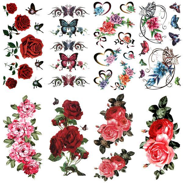 (ファンタジー) TheFantasy タトゥーシール 薔薇 花 バラ 蝶 【8種8枚セット】 ymx8002