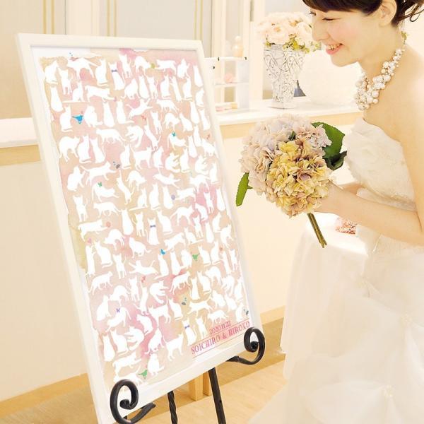 結婚式 ウェルカムボード / 寄せ書きメッセージボード「キャット(ピンク)」B2サイズ 120名迄対応 / 二次会 パーティー