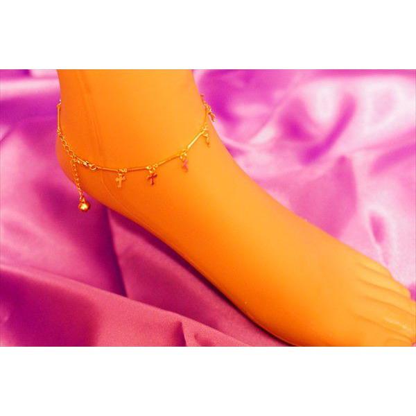サンシャインクロス(十字架)&音が鳴るベル(鈴) ゴールドカラー レディース アンクレット(サイズ調整チェーンアジャスター付き)「足首のブレスレット」