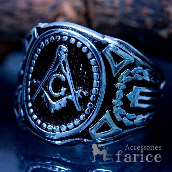 秘密結社フリーメイソンステンレスリング指輪シルバーブラックメンズコンパス定規Gマーク石工道具