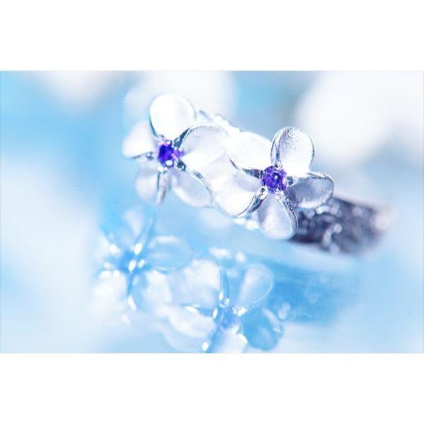 アメジスト装飾プルメリア(花)&カレイキニ(波)デザイン ハワイアンジュエリートゥーリング「3mm幅」