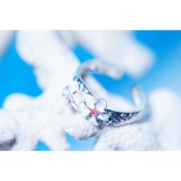 ピンクキュービックジルコニア装飾プルメリア(花)&カレイキニ(波)デザイン ハワイアンジュエリートゥーリング「3mm幅」