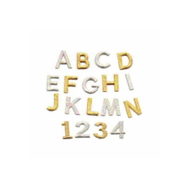 きらきら☆【ゴシック体】【2cm】アルファベット数字の刺繍ワッペン|farnnie-ya