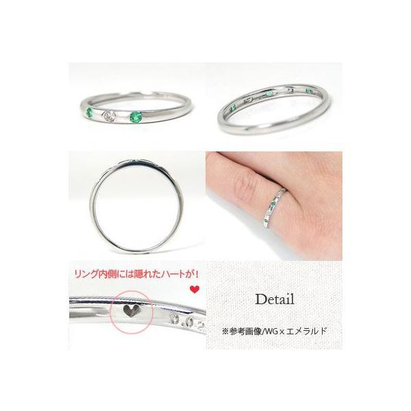 K10WG/YG/PG 誕生石「バースデーストーン」×ダイヤモンド ドッツデザイン ピンキーリング