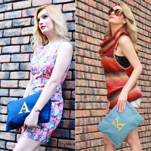 3WAY デニム クラッチバッグ カバン イニシャルロゴ bag チェーンショルダー ハンドショルダー A4サイズ プライベート レディース 2017夏|fashionletter|02