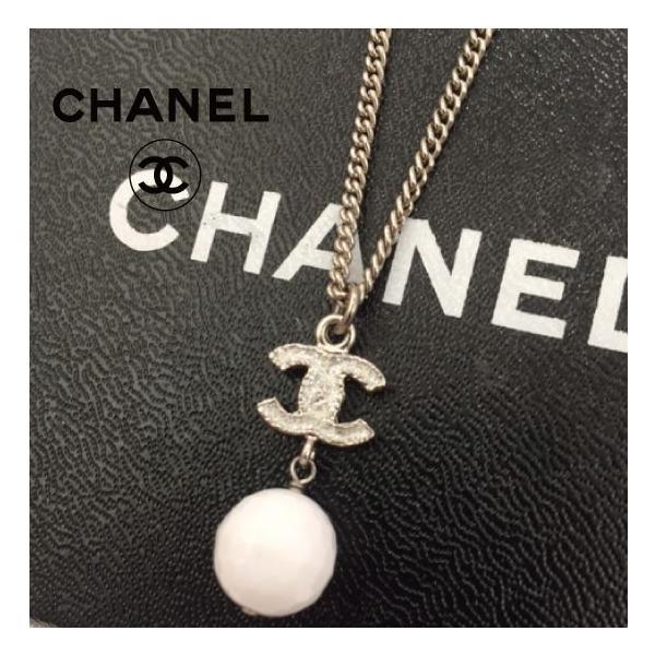 CHANEL シャネル ホワイトボール CCロゴ ラメ入りネックレス