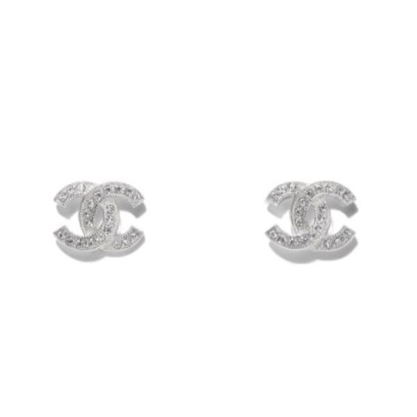 CHANEL CC Earrings Line Stone 2020SS シャネル ラインストーン CCピアス (シルバー) 2020年春夏新作