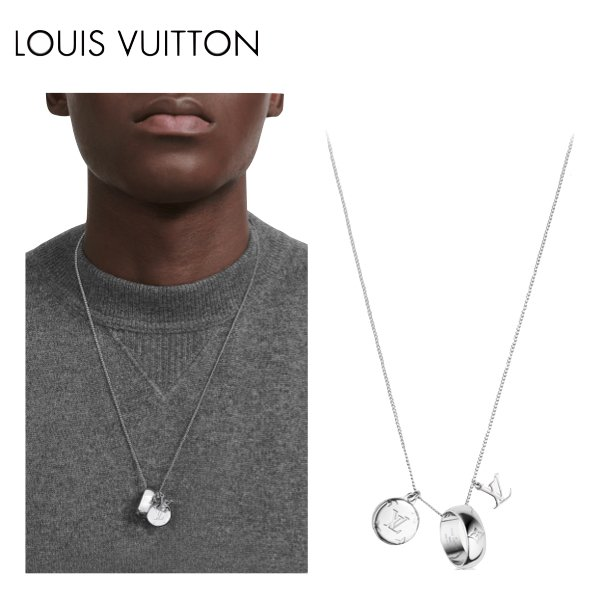 LOUIS VUITTON MONOGRAM CHARMS NECKLACE Silver 2021SS ルイヴィトン リングネックレス モノグラム シルバー 2021年春夏