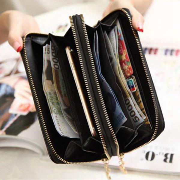 長財布 財布 ダブルファスナー 大容量 レディース カード収納 機能的 お財布 女性用 レザー ロングウォレット サイフ 代引不可