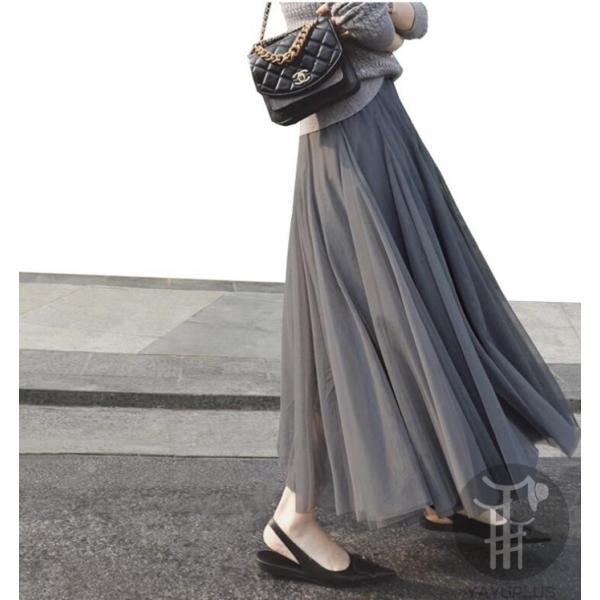 スカート チュールスカート スカート マキシ ロングスカート フレアスカート ウエストゴム マキシスカート ミモレ丈 スカート フリル 一部分当日発送 代引不可|fashionrizumu|05