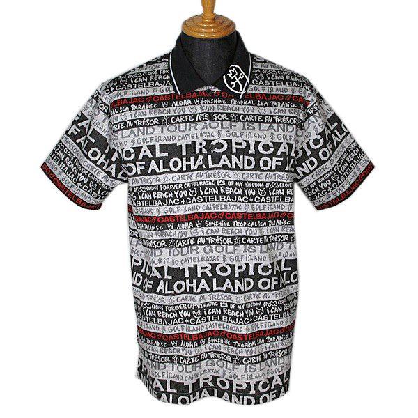 カステルバジャック CASTELBAJAC メンズ 半袖ブランドアルファベットボーダー柄ポロシャツ ゴルフウェア (アウトレット50%OFF)半額 通常販売価格:25300円