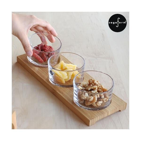 【取扱終了】 サガフォルム sagaform taste サーヴィングセット board with 3glasses 小鉢 北欧 ガラスボウル 3個 セット 木製トレイ ギフトボックス付き|favoritestyle