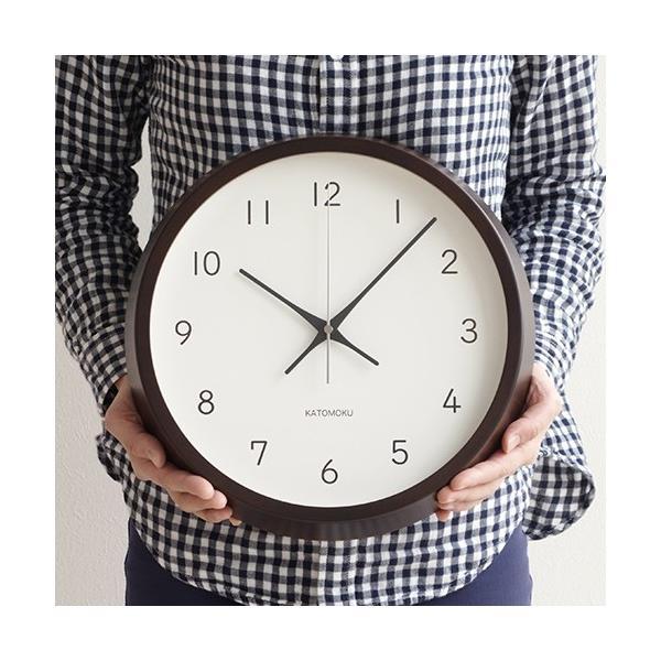 加藤木工 カトモク KATOMOKU muku round wall clock 13 ブラウン 電波時計 壁掛け スイープムーブメント KM-104BRRC favoritestyle 04