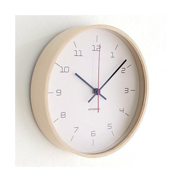 加藤木工 カトモク KATOMOKU plywood wall clock 16 ナチュラル 掛時計 壁掛け スイープムーブメント 連続秒針 電波時計 KM-105NARC|favoritestyle|03