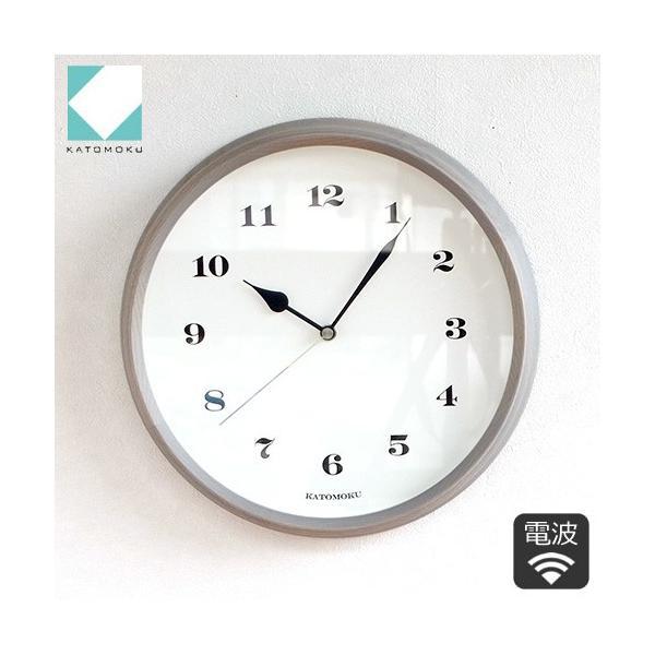 壁掛け時計 電波時計 木製 日本製 加藤木工 KATOMOKU カトモク 連続秒針 muku round wall clock 3 グレー 曲木時計 KM-54GRC favoritestyle