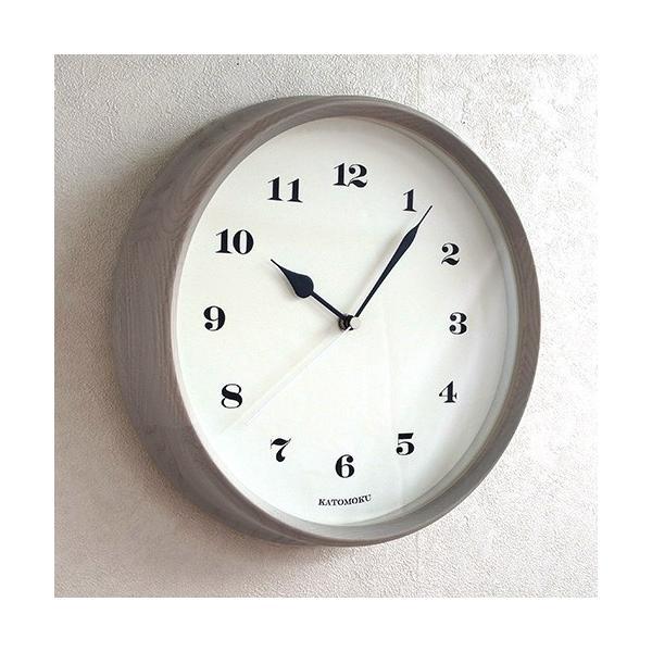 壁掛け時計 電波時計 木製 日本製 加藤木工 KATOMOKU カトモク 連続秒針 muku round wall clock 3 グレー 曲木時計 KM-54GRC favoritestyle 04