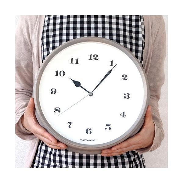 壁掛け時計 電波時計 木製 日本製 加藤木工 KATOMOKU カトモク 連続秒針 muku round wall clock 3 グレー 曲木時計 KM-54GRC favoritestyle 05