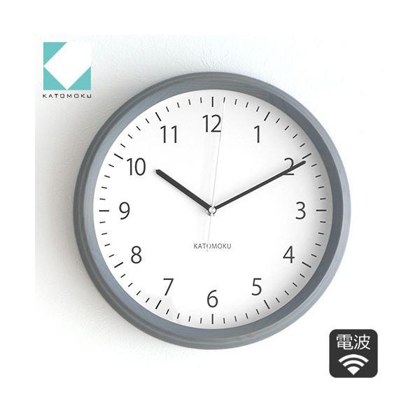 壁掛け時計 電波時計 木製 日本製 加藤木工 KATOMOKU カトモク 連続秒針 muku round wall clock 4 グレー KM-57GRC|favoritestyle