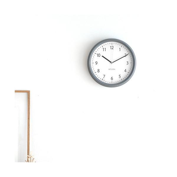 壁掛け時計 電波時計 木製 日本製 加藤木工 KATOMOKU カトモク 連続秒針 muku round wall clock 4 グレー KM-57GRC|favoritestyle|03